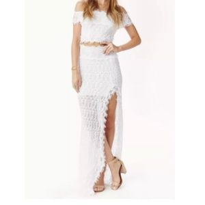 Nightcap Florence High Slit Maxi Skirt Ivory NWT